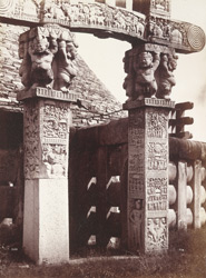 Front view of the restored pillars of the West Gateway from the left, Sanchi Tope